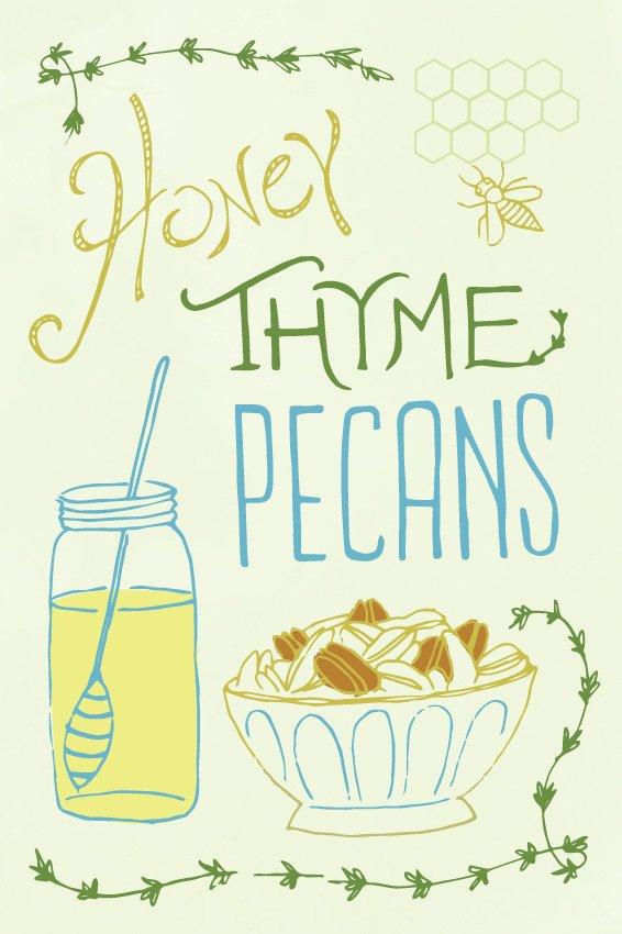 Honey Thyme Pecans postcard illustration