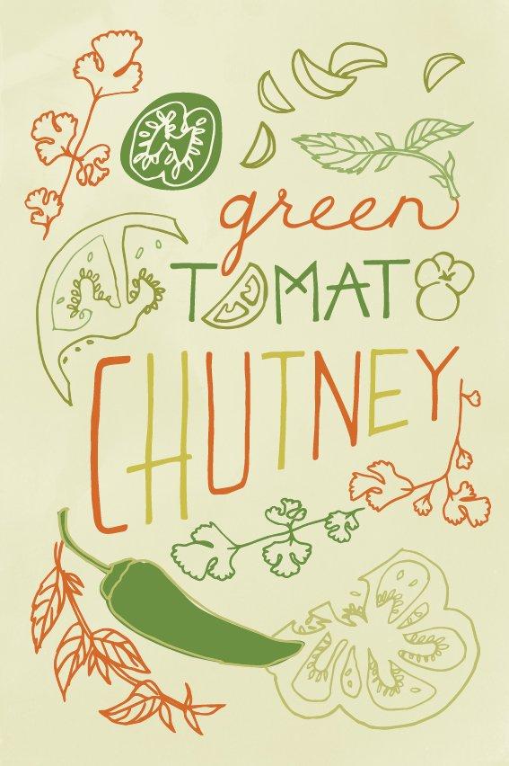 Green Tomato Chutney postcard illustration