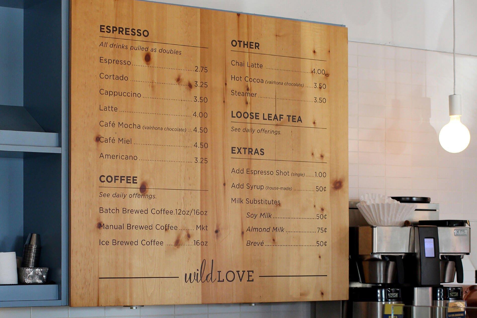 Wild Love Bakehouse menu board