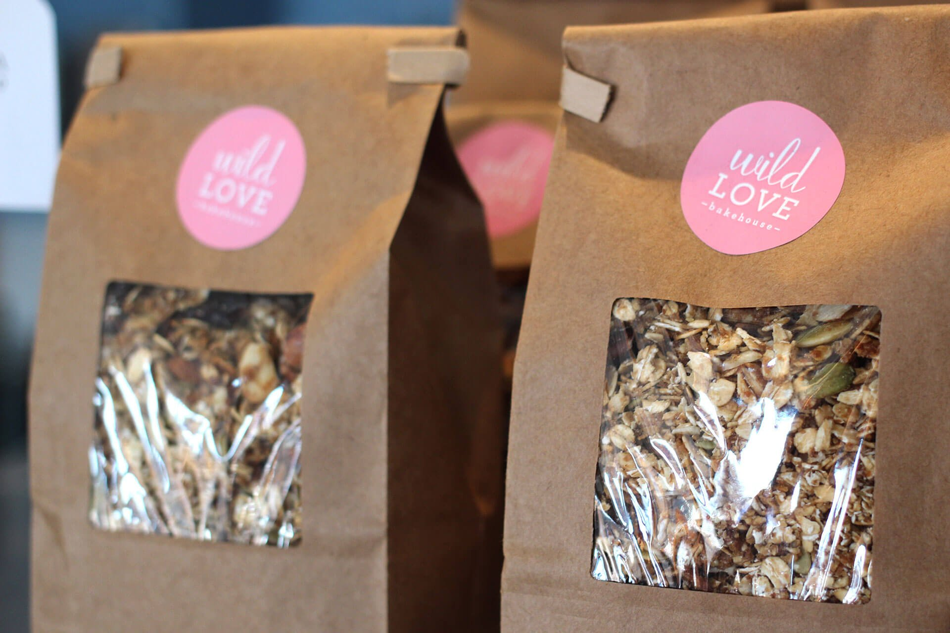 Wild Love Bakehouse package design granola bags