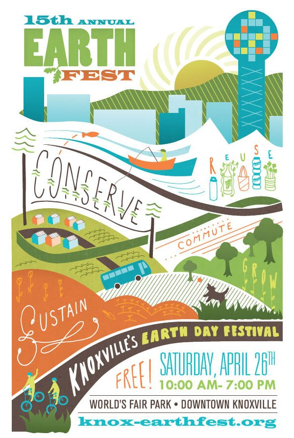 Earth Fest Knoxville 2015 poster illustration