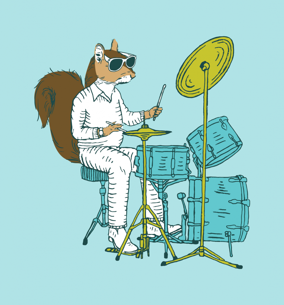 Rhythm N Blooms squirrel illustration