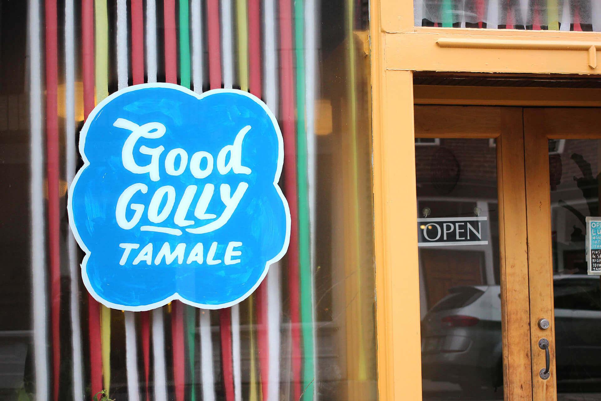 Good Golly Tamale front window art
