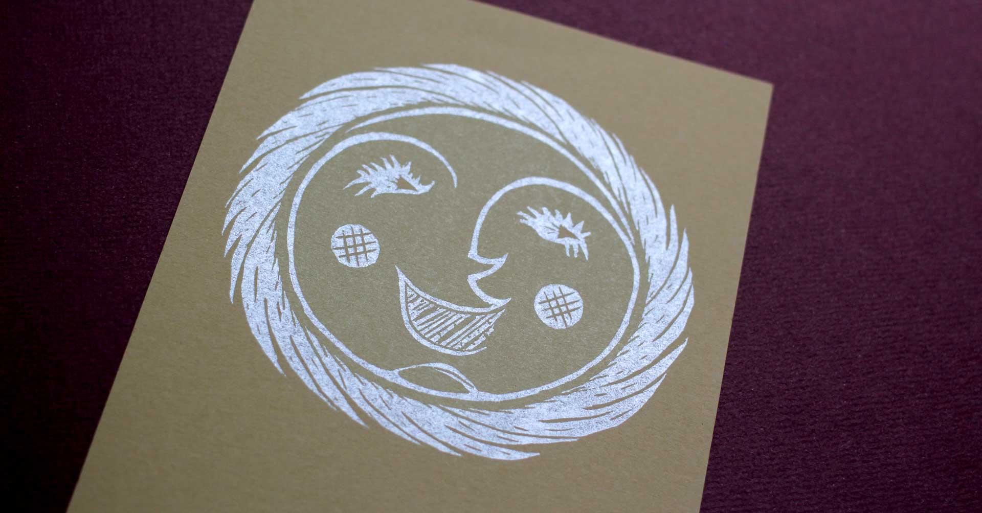 Sun letterpress woodcut illustration