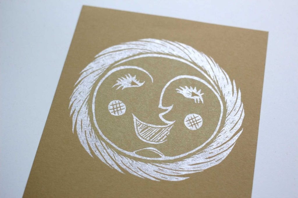sun woodcut illustration