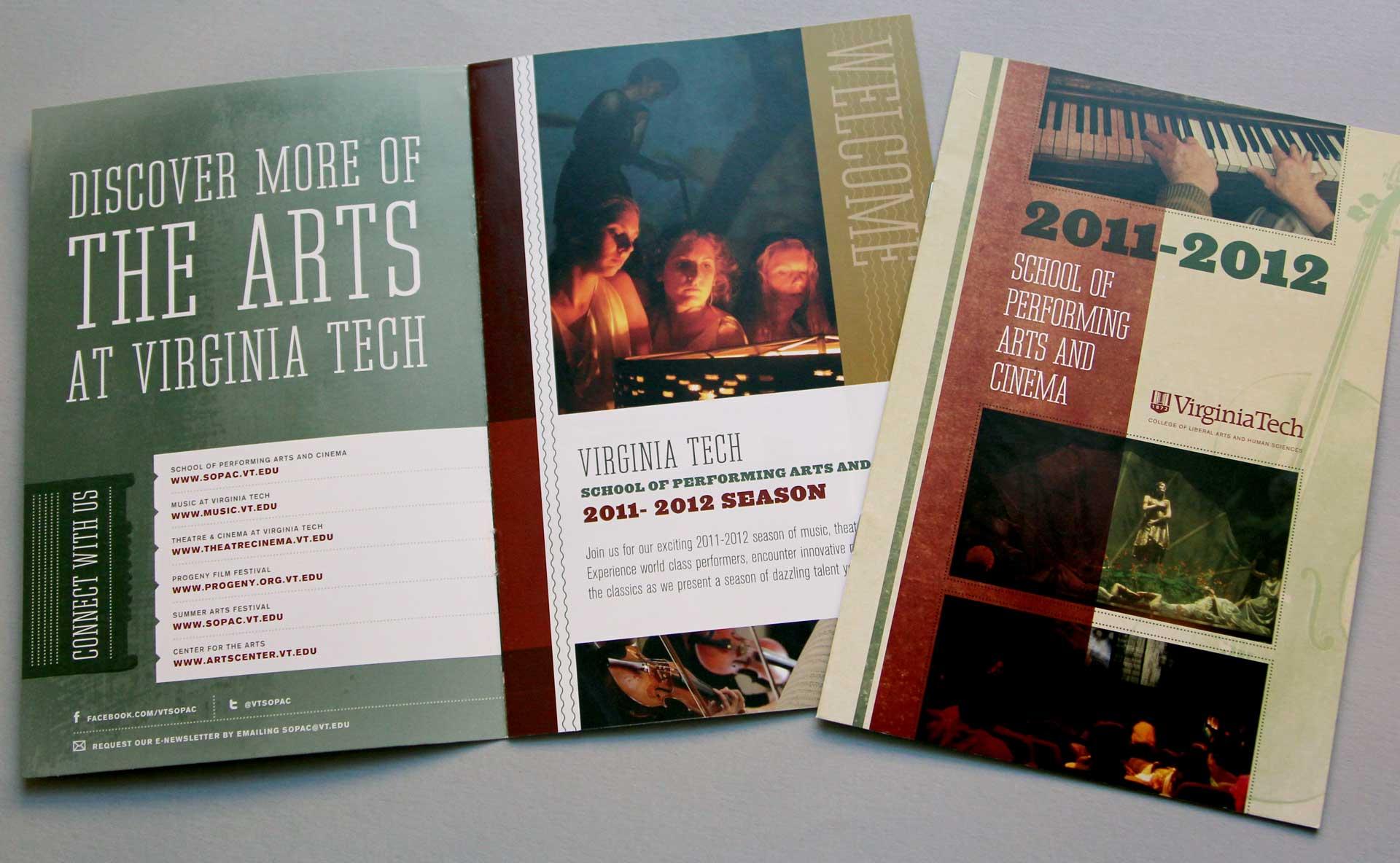 Virginia Tech School of Performing Arts brochure cover